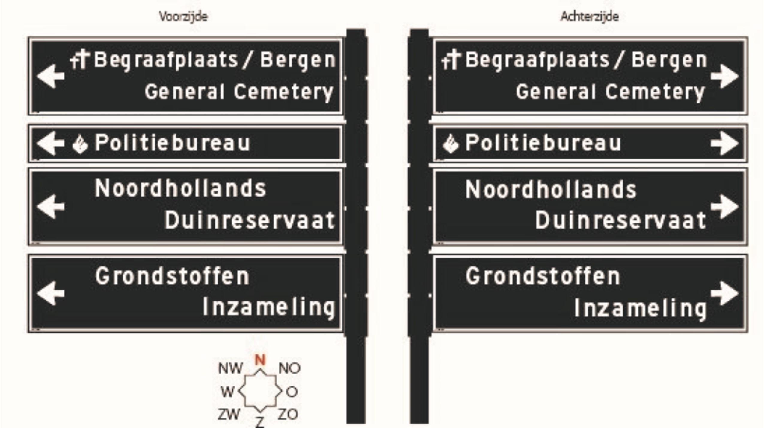 Renovatie objectbewegwijzering gemeente Bergen (NH)